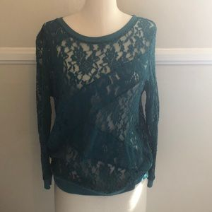 Anthropologie Green Lace Top - E by Eloise